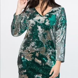 Eloquent green and silver sequin dress